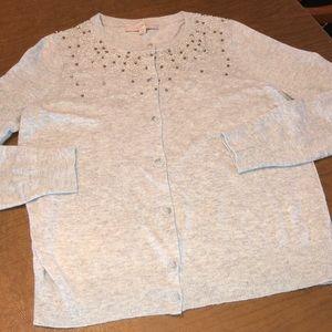 LOFT Gray Soft Comfy Cardigan Sequin Sweater Sz L